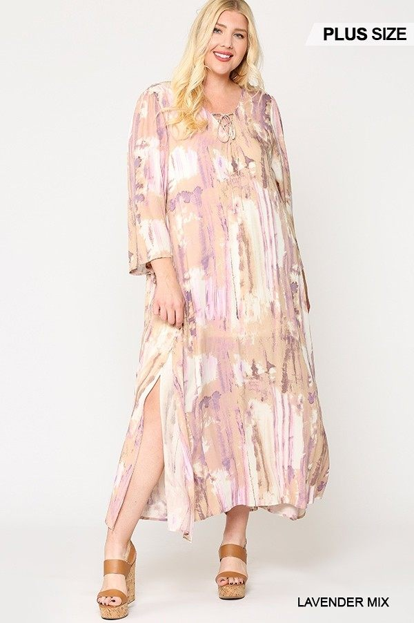 Tie Dye Multi Color Printed Maxi Dress With Lace Up - Fashion Quality Boutik