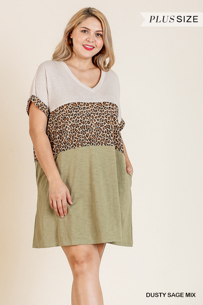 Linen Blend Short Folded Sleeve Animal Print Colorblocked V-neck Dress With Pockets - Fashion Quality Boutik