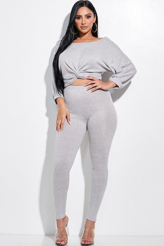 Solid Rib Knit Knotted Front Top And Leggings Two Piece Set