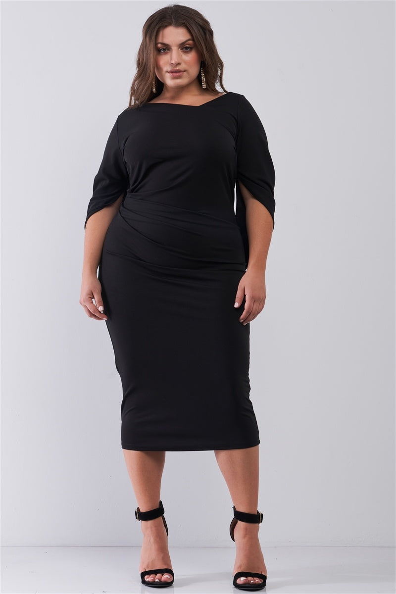 Plus Size Black Asymmetrical Neck Draped Sleeve & Back Detail Fitted Midi Dress - Fashion Quality Boutik