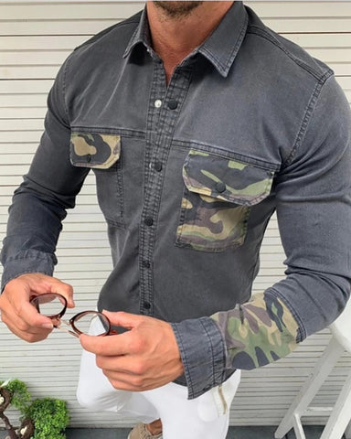 Camouflage Colorblock Pocket Design Denim Style Shirt