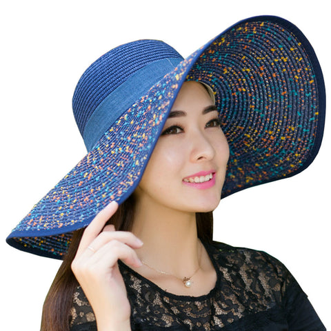 Navy Dots Style Sun Hat Beach Hats Foldable Hat Ladies Hat Girls Cap