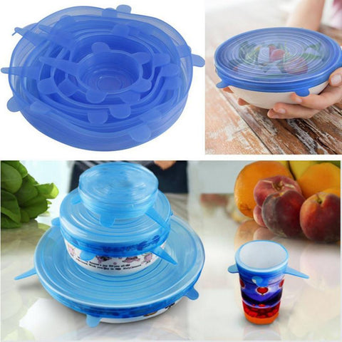 Universal Silicone Stretchable Food Lid Covers - 6pcs
