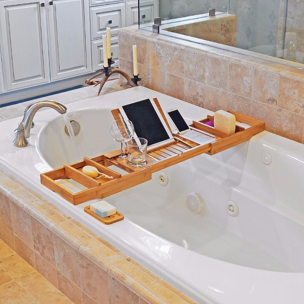 luxury office caddy serenelife pyle therapeutic home bamboo sku bathtub tray and