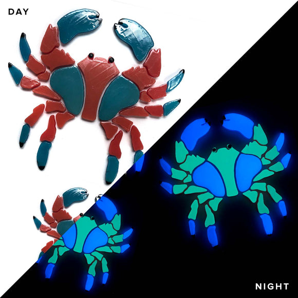 Crab Family Glow in the Dark Pool Mosaics