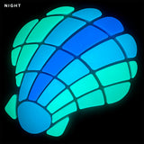 Curved Scallop Shell Glow in the Dark Mosaic