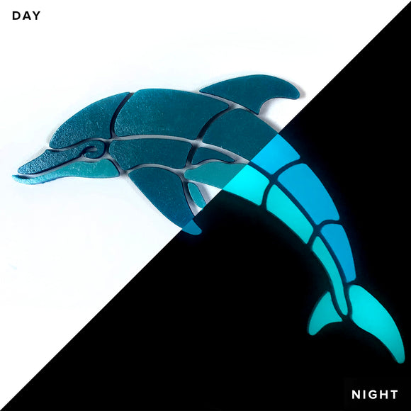 Playful Dolphin Glow in the Dark Pool Mosaic
