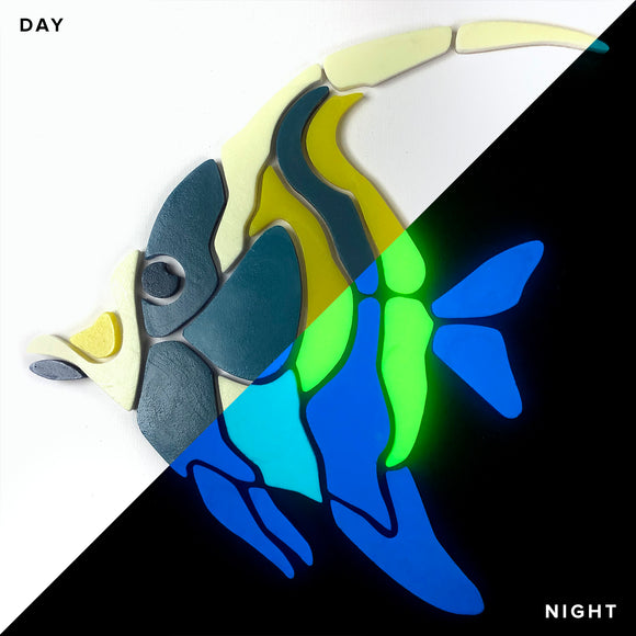 Moorish Idol Fish Glow in the Dark Mosaic