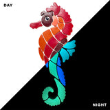 Red Seahorse Glow in the Dark Pool Mosaic