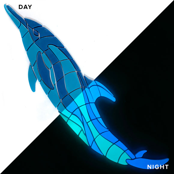Dancing Dolphin Glow in the Dark Pool Mosaic