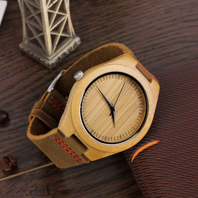 Bamboo Wood & Genuine Leather Band