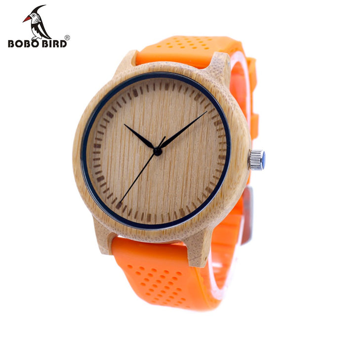 Bamboo Watch with Silicone Strap