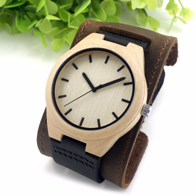 Bamboo & Leather Watch
