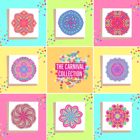 Carnival - New Mandala greeting cards - available now 🌈🎉