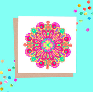 Carnival Themed Mandala Greeting Card Set - 8 Cards, 8 designs