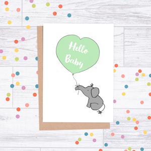 Hello Baby Card - Elephant & Balloon