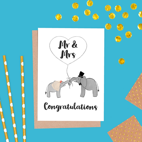Elephant Bride and Groom Wedding Card, Mr & Mrs