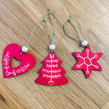 Set of 3 Handprinted Scandi Christmas Tree Decorations