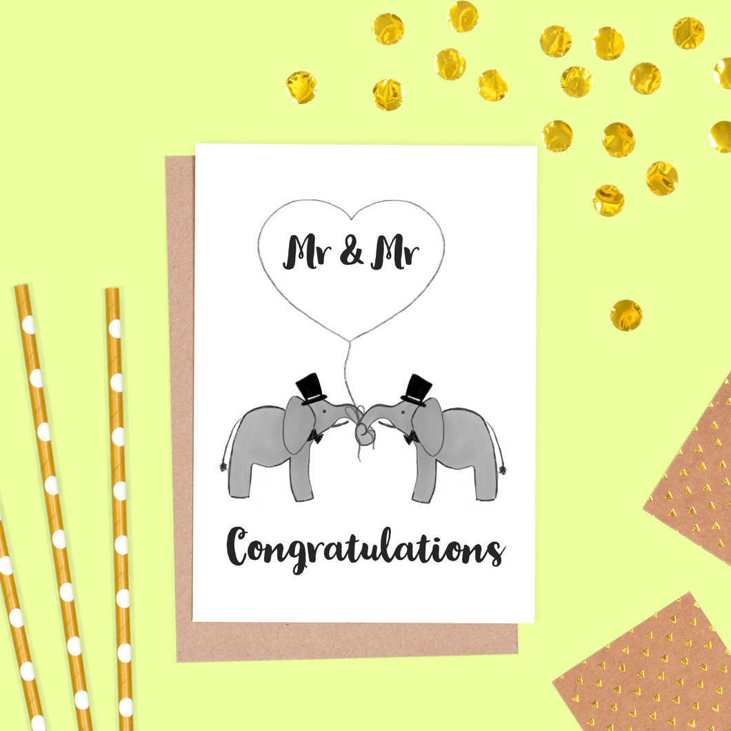 Elephant Groom and Groom Wedding Card, Mr & Mr Card