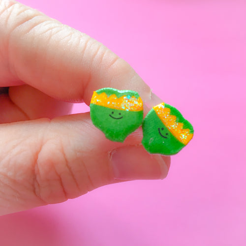 Sprouts in Golden Party Hat Earrings