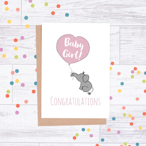 Congratulations Baby Girl Card - Elephant & Balloon