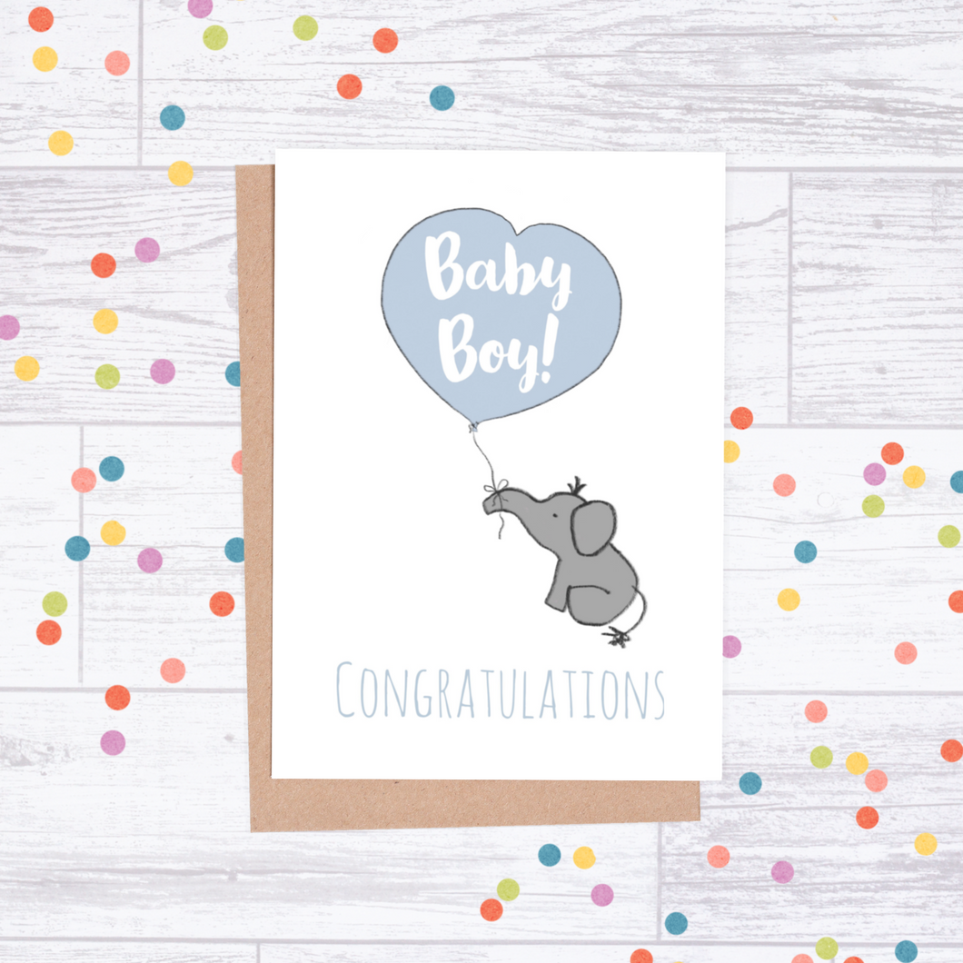 Congratulations New Baby Boy Card - Elephant & Balloon