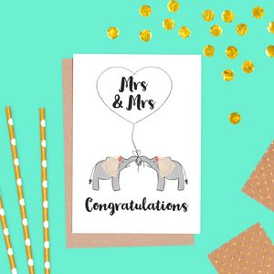 Elephant Bride and Bride Wedding Card, Mrs & Mrs