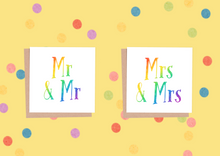 Gay Wedding Card, Mr & Mr or Mrs & Mrs, Gay Pride