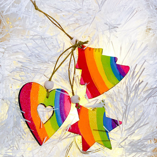 Set of 3 handpainted Rainbow Christmas Tree Decorations