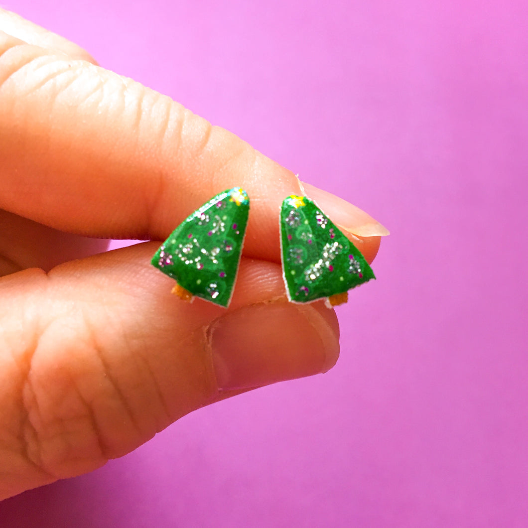 Glittery Christmas Tree Earrings