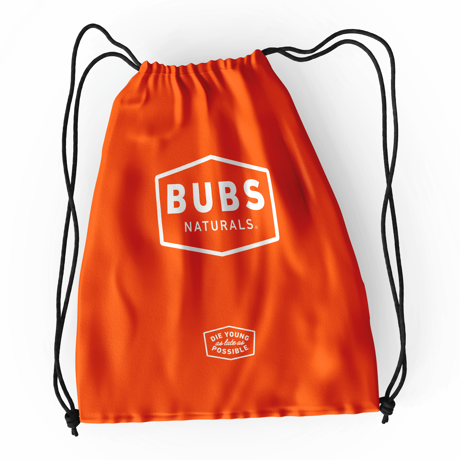 BUBS Naturals orange drawstring bag