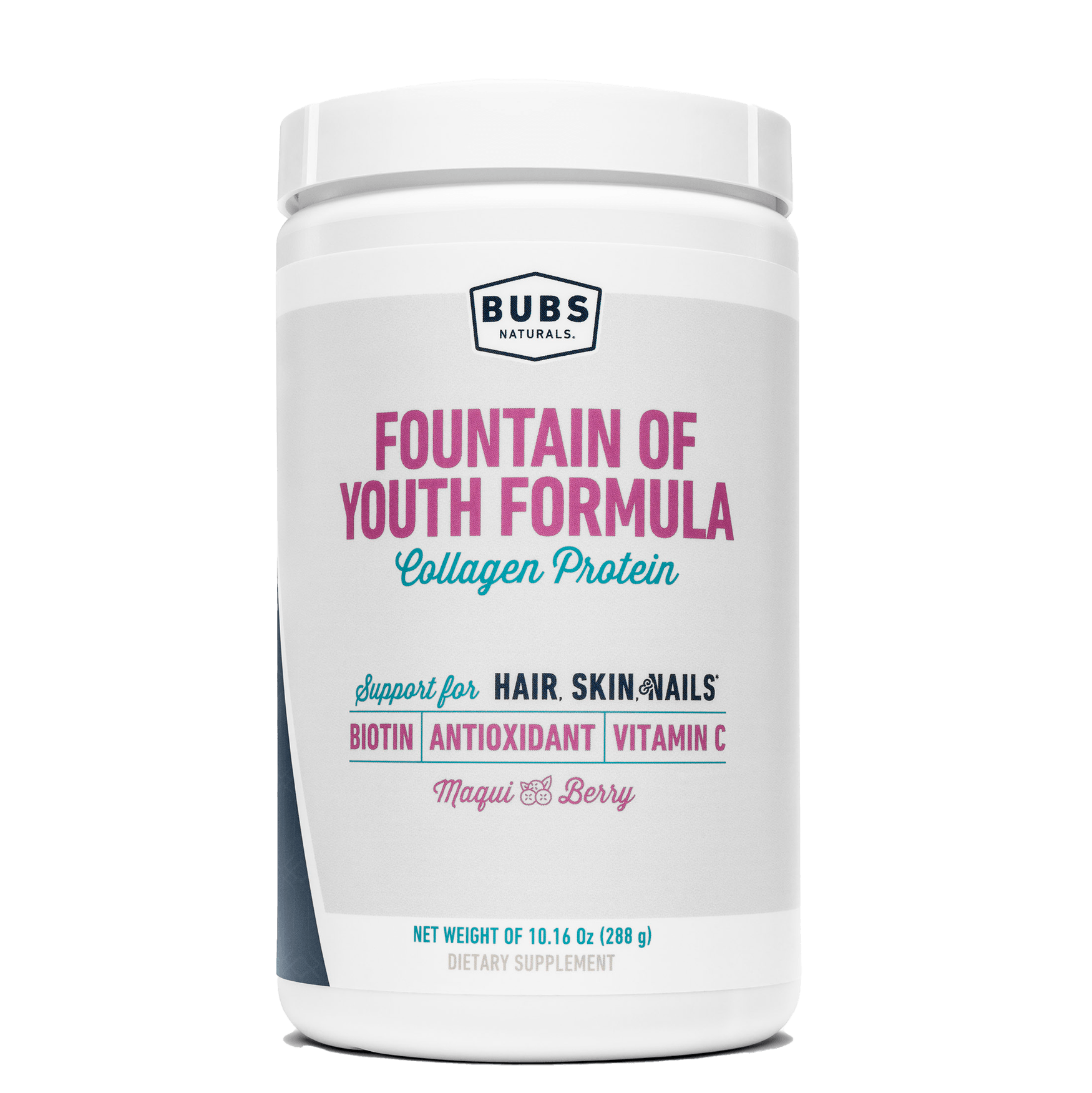 BUBS Naturals Fountain of Youth Formula Collagen Protein 10.16oz Container - Support for Hair, Skin & Nails