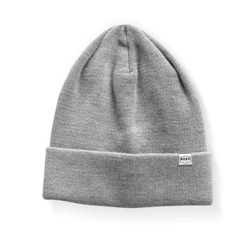 gray beanie with small BUBS Naturals logo on front