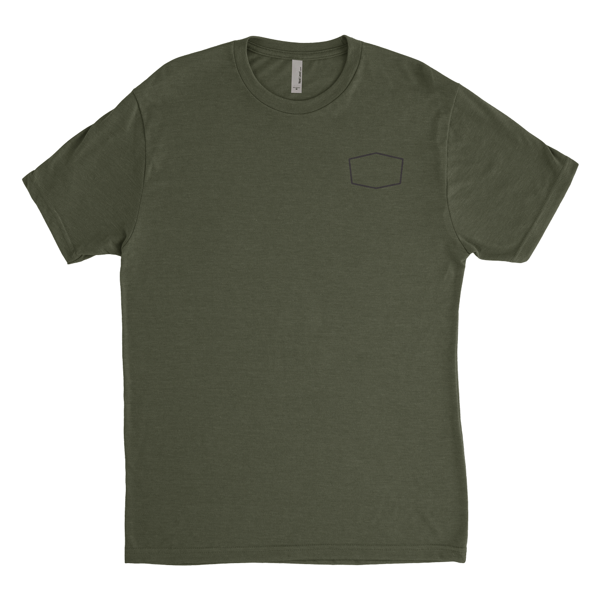 Mens Heathered Green Crew T-Shirt with small BUBS Naturals logo on the front