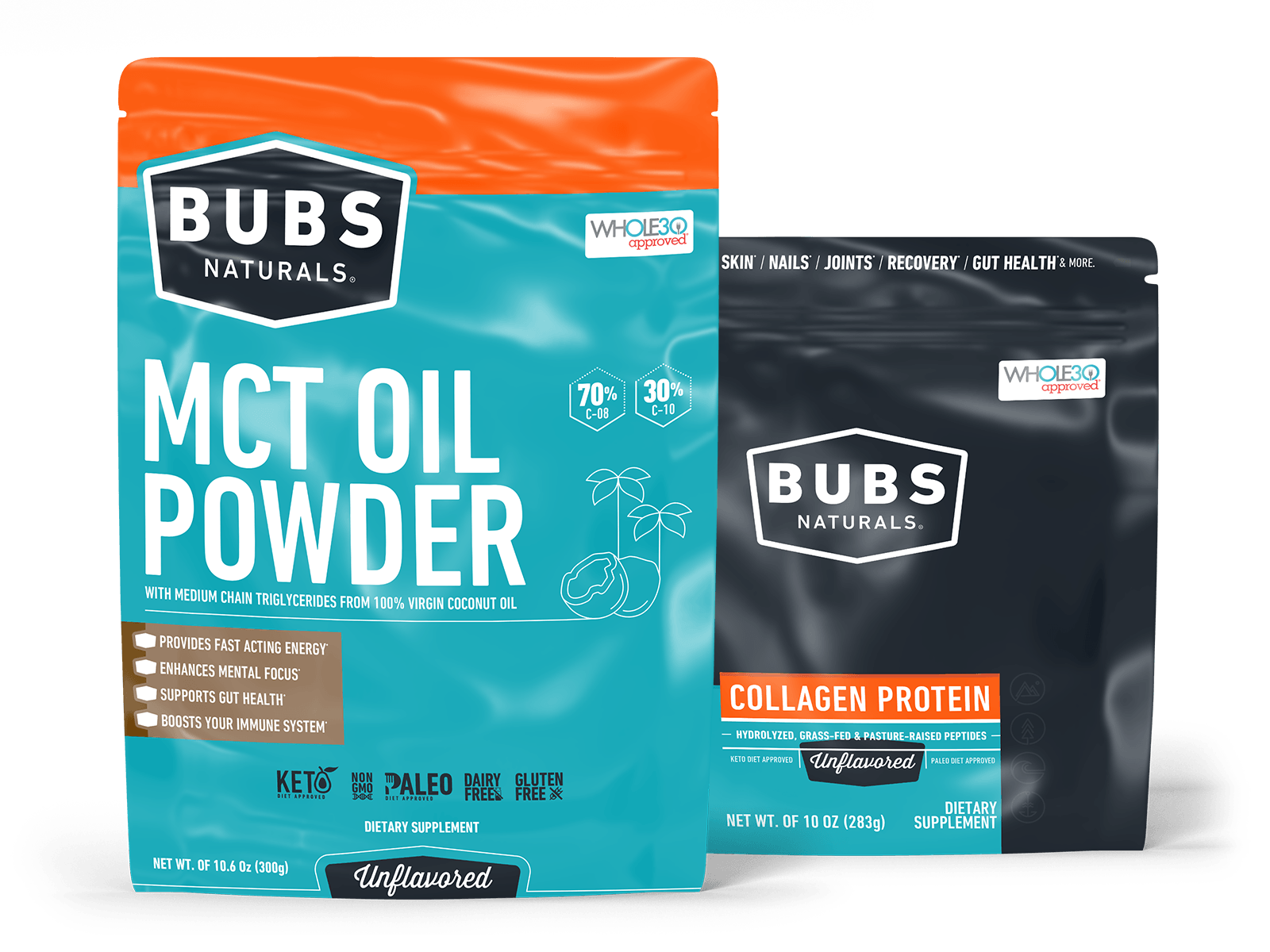 BUBS Naturals Keto Starter Bundle: MCT Oil Powder, 10.6oz and Collagen Protein Powder, 10oz