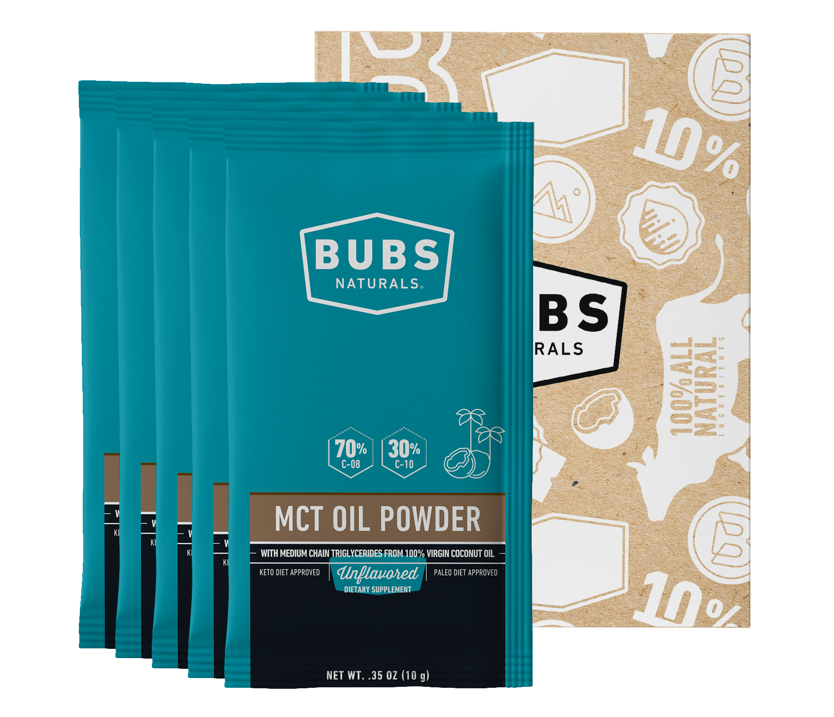 BUBS Naturals MCT Oil Powder Sample Pack of 5 (Unflavored)