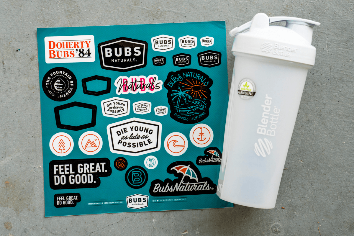 BUBS Naturals sticker sheet and BlenderBottle® protein shaker bottle bundle