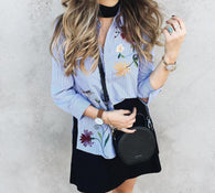 Floral Embroidered Long Sleeve Blouse