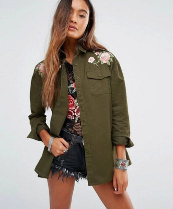 Army Style Flower Embroidery Top