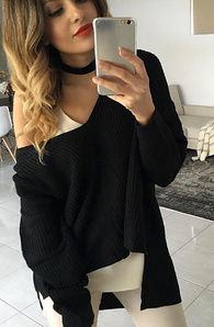Sexy Off Shoulder Split Knitted Sweater