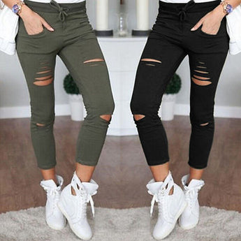 Skinny Stretch Denim Jeans with Holes