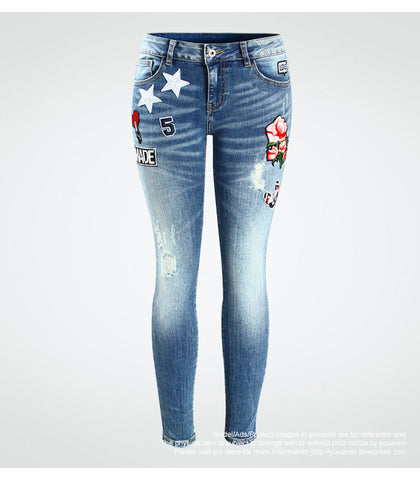 Rosie Embroidery Flower Cropped Stretch Jeans