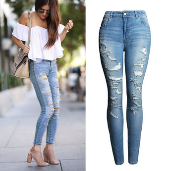 High Waist Ladies Ripped Stretch Jeans
