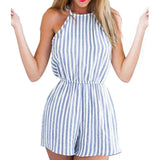 Backless Halter Striped Summer Romper