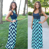 Bohemian Striped Print Maxi Dress