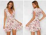 Floral Vneck Summer Dress