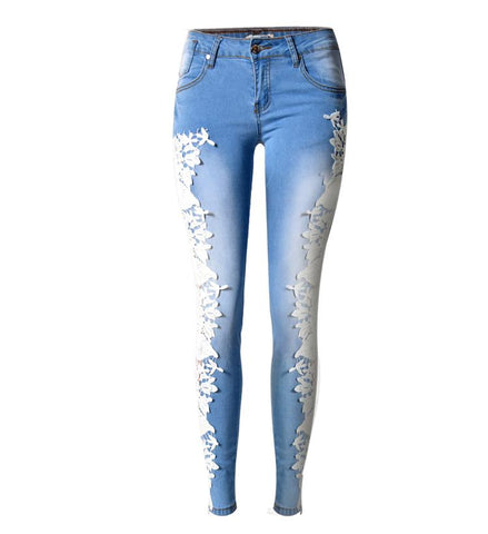Lace Fashion Side Lace Stretch Jeans