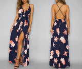 Deep Vneck Summer Beach Chiffon Maxi Dress