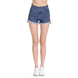 Rosie Flower Embroidered Denim Shorts