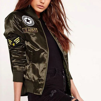 Flight Bomber Army Jacket with Patches
